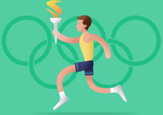 Trkač sa olimpijskim plamenom, ilustracija