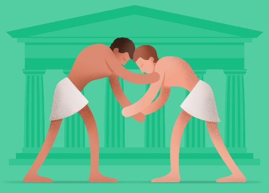 Ilustracija antičkih grčkih rvača